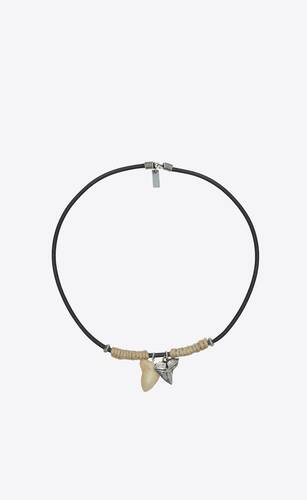 shark tooth necklace in crinkled leather