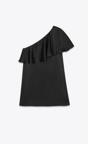 サテンクレープのワンショルダーラッフルミニドレス