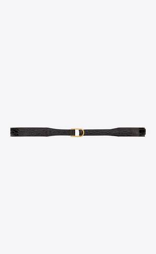d-ring buckle belt in crocodile-embossed leather