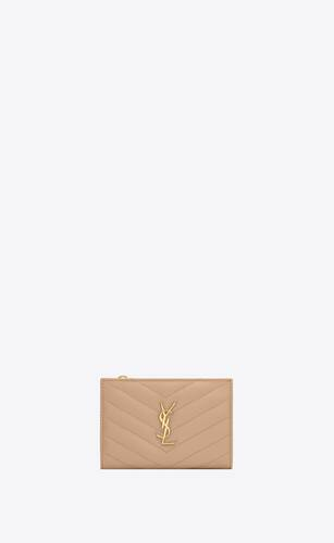 monogram zippered two-part wallet in grain de poudre embossed leather