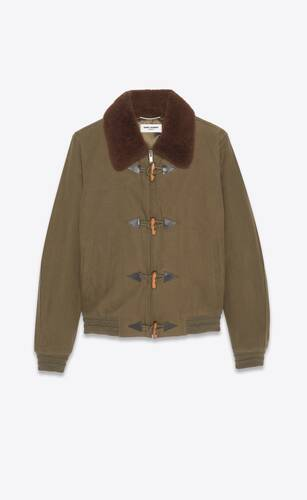 bomber jacket in canvas and shearling