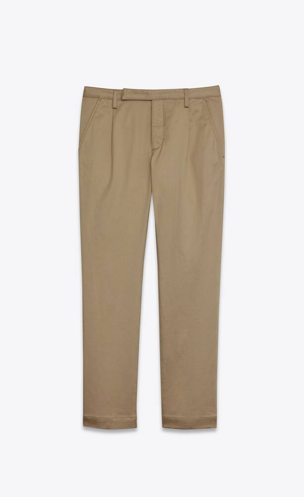 classic chino pants in raw beige cotton twill