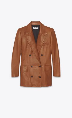 double-breasted long jacket in lambskin