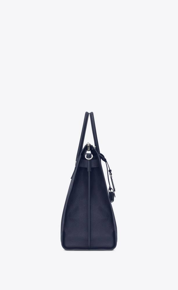 north/south sac de jour souple holdall blu navy in pelle