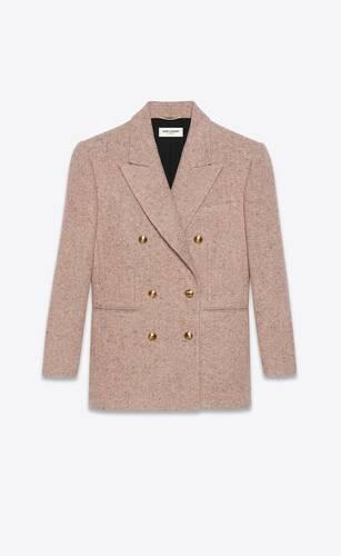 chaqueta con doble botonadura de tweed de lana