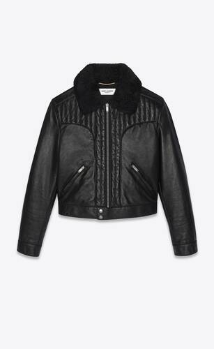 quilted jacket in lambskin with shearling collar