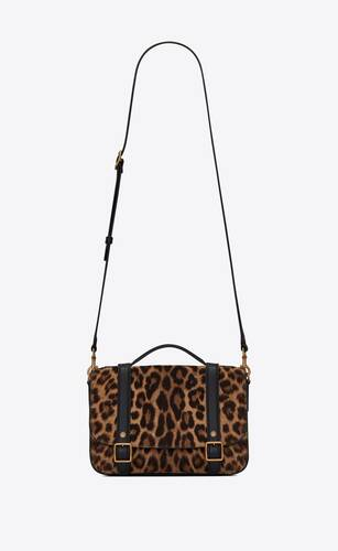 schoolbag mini satchel in leopard-print pony-effect leather