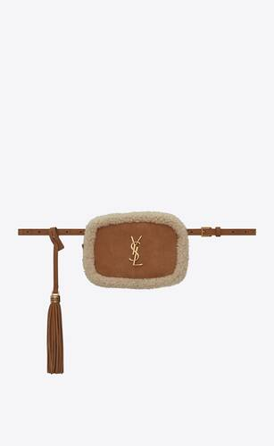 lou belt bag in shearling and nubuck