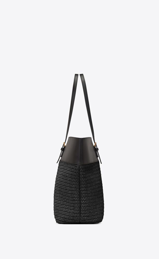 boucle medium e/w shopping bag in raffia and smooth leather