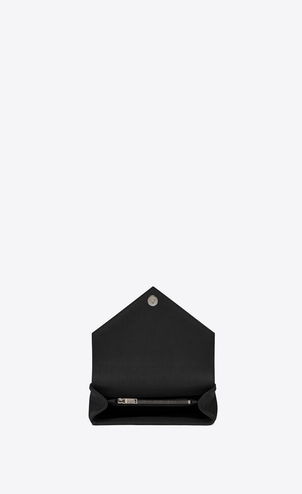 medium tasche mit kette aus schwarzem matelassé-leder