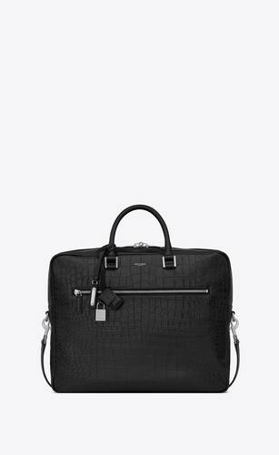 sac de jour large briefcase in crocodile embossed leather
