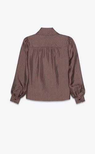 lavallière v-neck blouse in fish scale silk twill