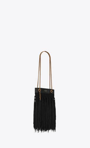 grace small fringed hobo bag in rope and leather