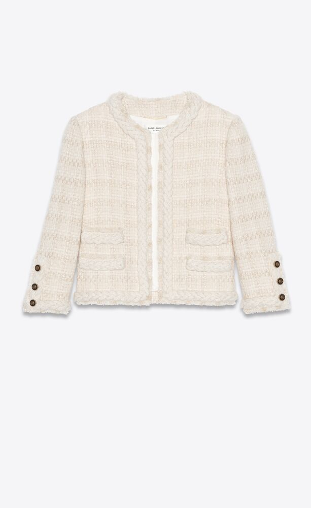 short jacket in check wool and silk tweed