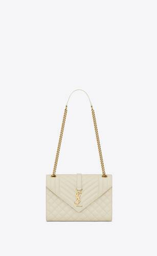 envelope medium bag in mix matelassé grain de poudre embossed leather
