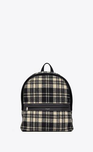 camp backpack in tartan and lambskin