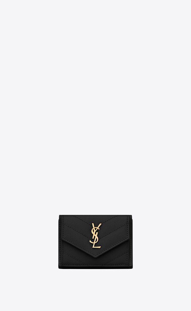 monogram saint laurent aus schwarzem leder mit struktur und steppnähten