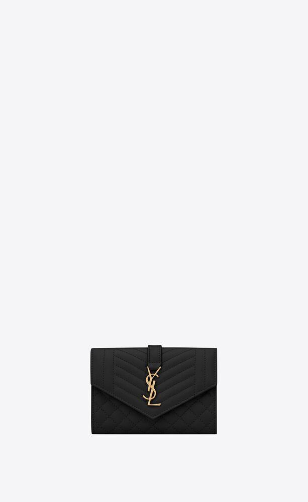 monogram small envelope wallet in mix matelassé grain de poudre embossed leather