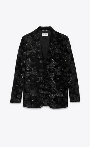 tailored jacket in sequined hibiscus velvet