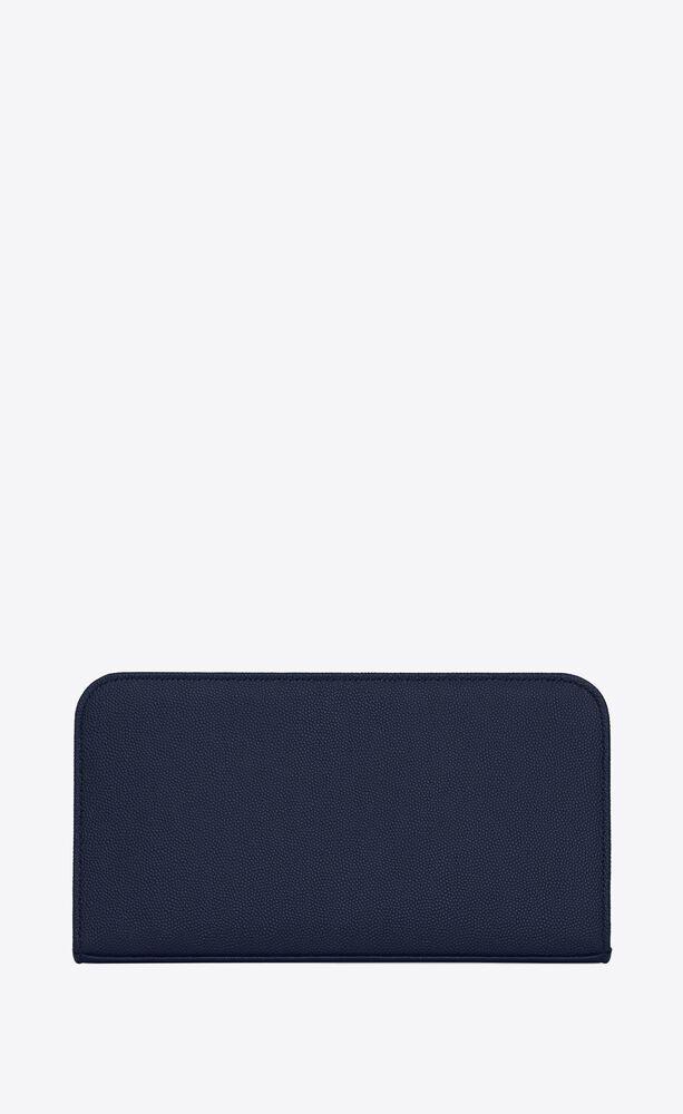 zip around wallet in grain de poudre embossed leather