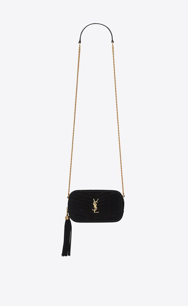 lou mini bag in suede matelassé leather