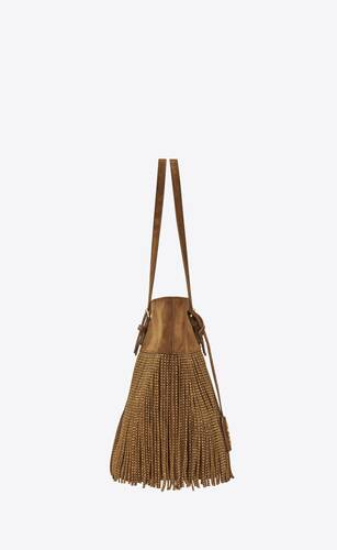 boucle medium e/w shopping bag in vintage suede with studded fringe