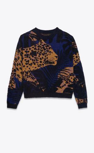 suéter de punto de jacquard con motivo de leopardo y selva lamé