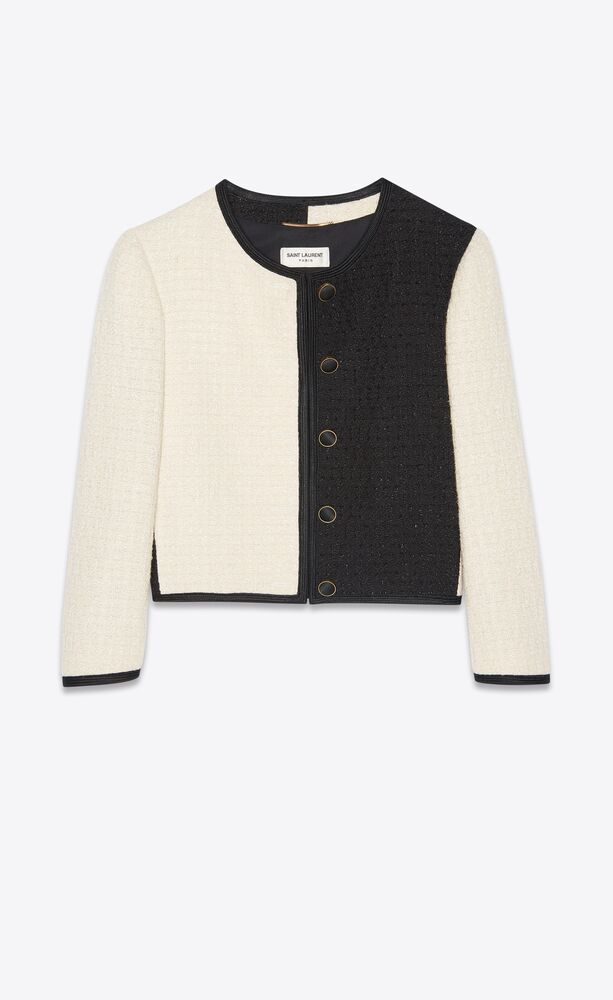 kurze jacke aus zweifarbigem tweed
