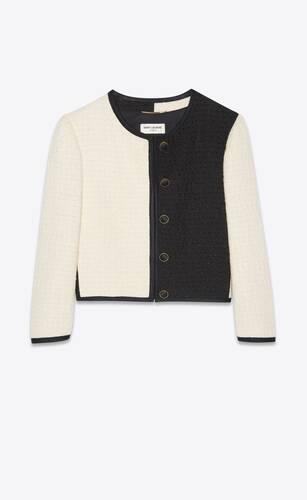 short jacket in bicolor tweed
