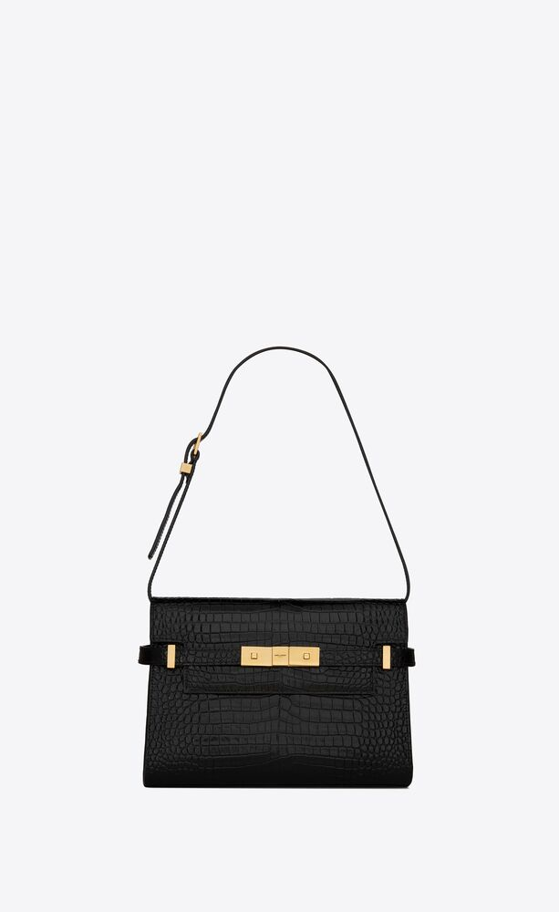 manhattan small shoulder bag in shiny crocodile-embossed leather