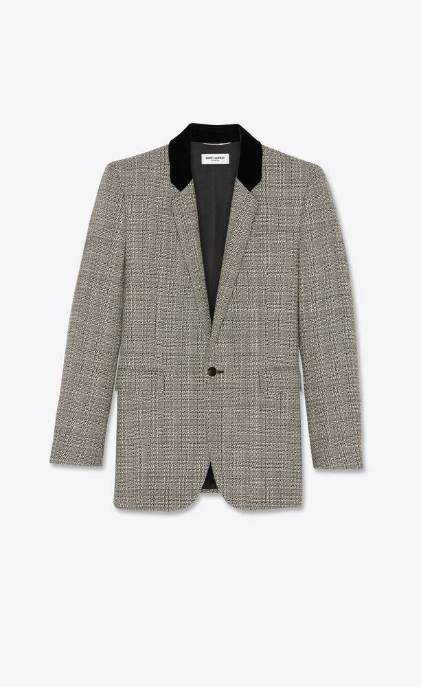 square-cut long jacket in deconstructed prince of wales wool check