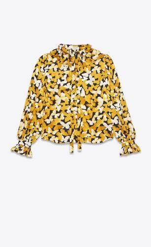poet blouse in butterfly silk jacquard