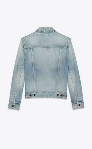 boyfriend denim jacket in light sky blue