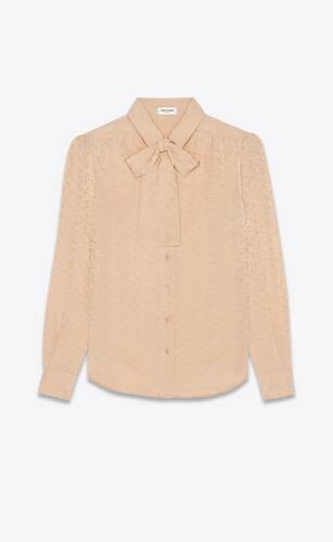 blusa con collo lavallière in seta lucida e opaca con stampa paisley