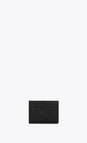 card case in crocodile embossed leather