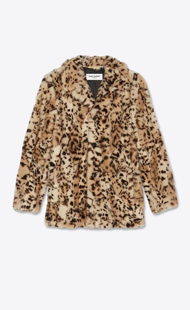 ocelot-print patchwork mink coat