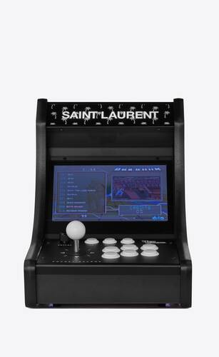 neo legend retro arcade machine with palm trees and a checkered pattern