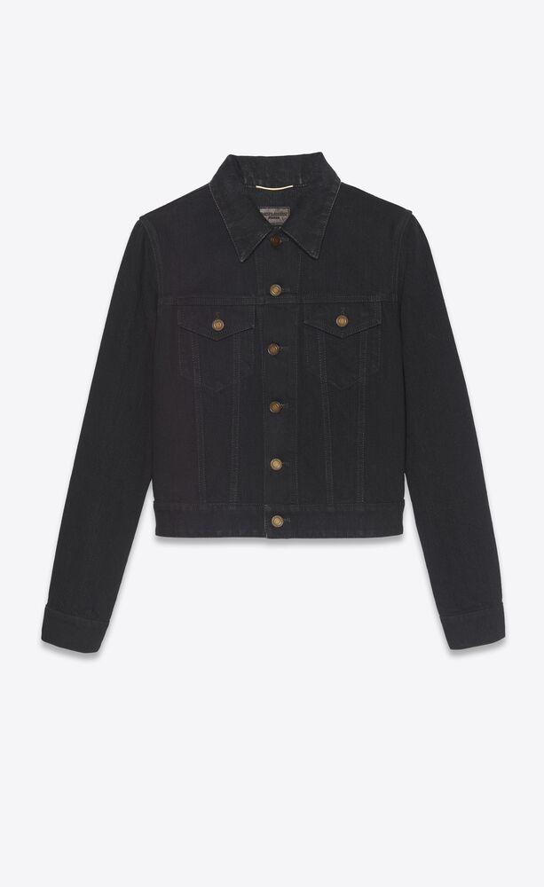 classic jacket in worn black denim