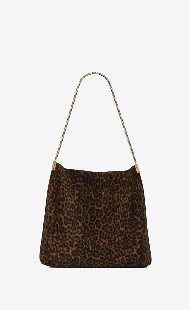 suzanne medium hobo bag in leopard-print suede