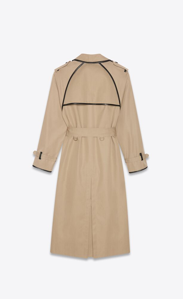 long trench coat in gabardine and leather