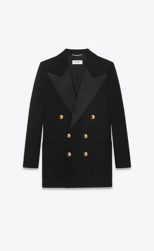 double-breasted tuxedo jacket in grain de poudre saint laurent