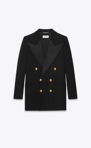 chaqueta de esmoquin con botonadura doble de grain de poudre saint laurent
