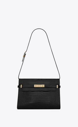 manhattan shoulder bag en cuir embossé crocodile