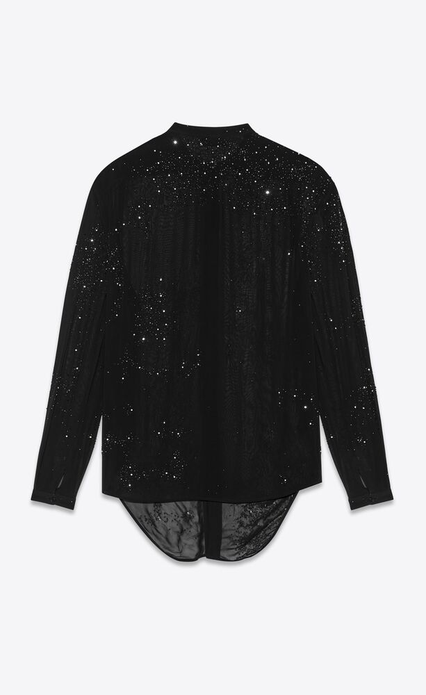 oversized tie-up shirt in matte viscose georgette with beaded and crystal embroidery