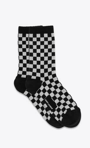 check and musical notes pattern socks