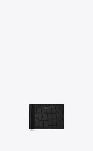 bill clip wallet in crocodile embossed leather