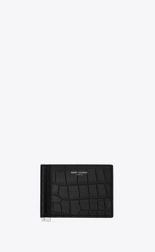 bill clip wallet in crocodile embossed leather
