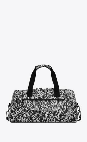 bolso marinero nuxx de nailon con estampado de leopardo