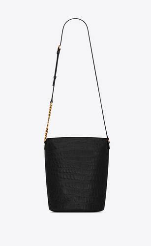 vintage bucket bag in lacquered crocodile-embossed leather
