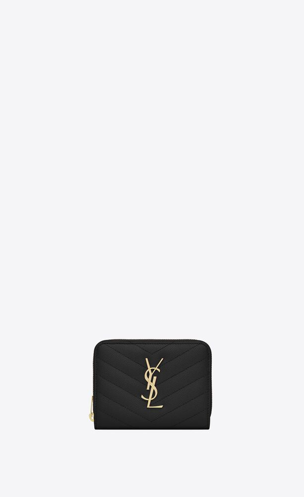 monogramme portefeuille compact zippé en cuir embossé grain de poudre